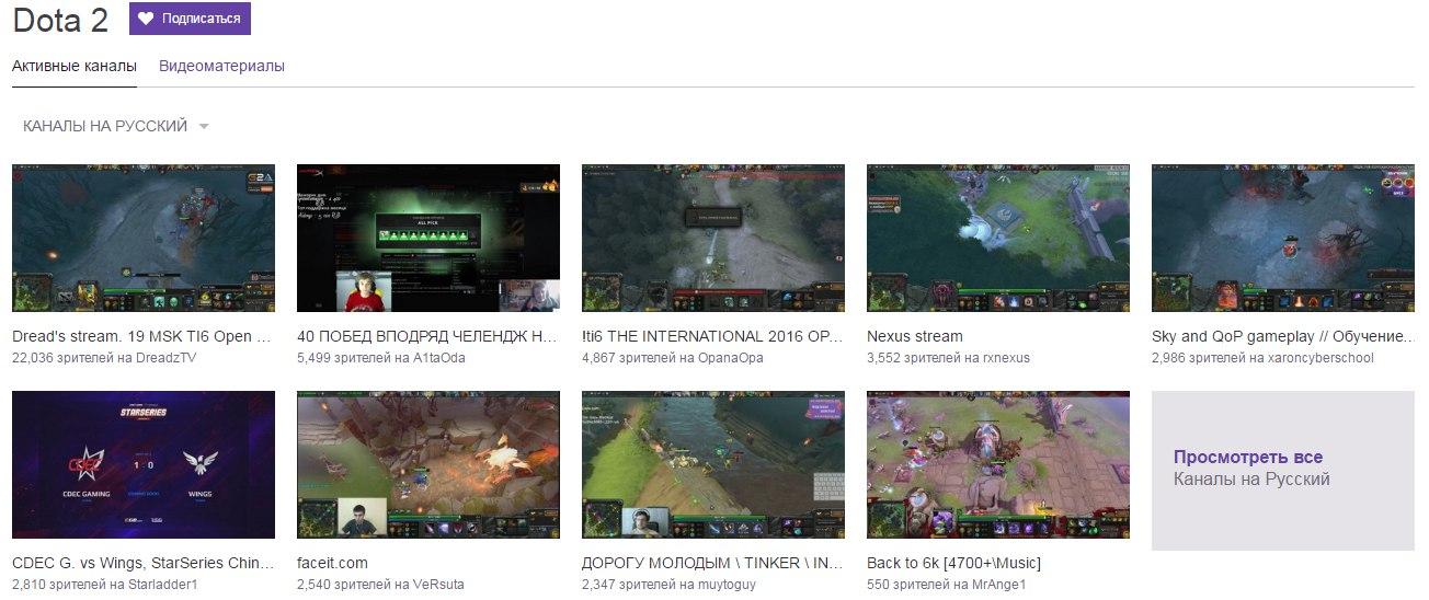 Каналы игры Dota 2